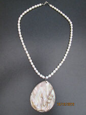 Authentic Potato Style Pearl Strand with Shell Abolone Pendant