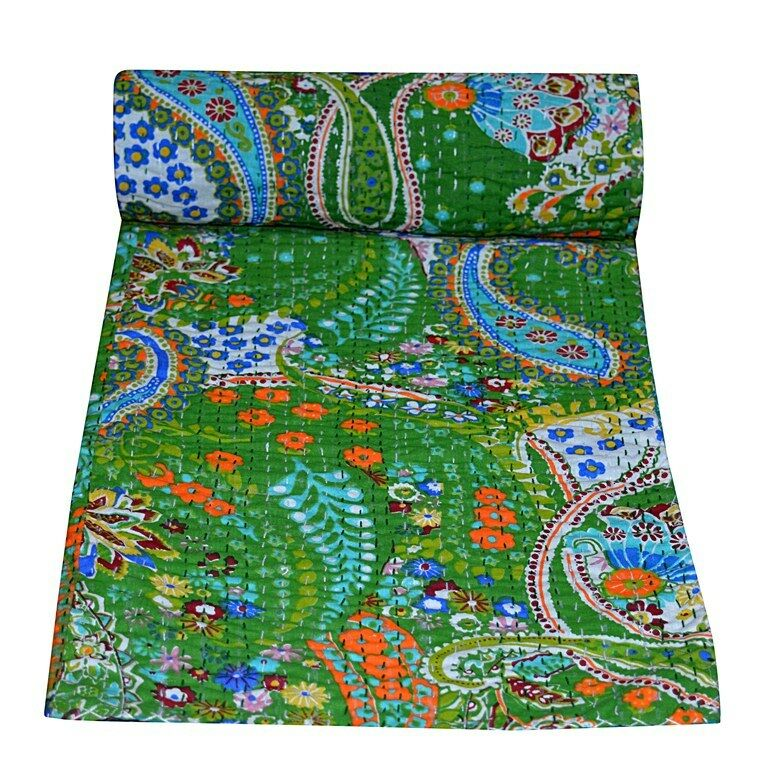 Indian Paisley Kantha Quilt Reversible Indian Blanket Throw Bedspread Cotton Art