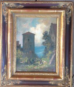 Romantico-Castello-Dipinto-a-Olio-Figurenstaffage-Reno-Main-Mosel-Donau-Telaio