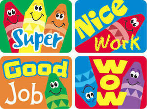 100 Large Good Job Nice Work Super Wow Reward Stickers Teacher Parent Crayon Ebay