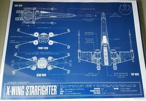 Star Wars X-Wing Fighter Blueprint 11x14 w/Top Loader