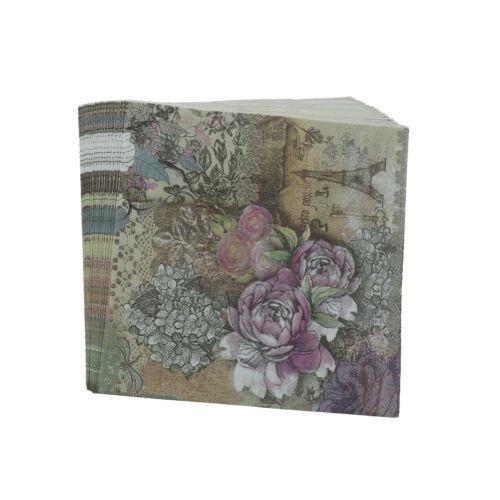 design tower paper napkins rose festive party tissue floral decoration 20pcs HU
