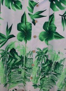 Kennington-LTD-Hawaiian-Men-039-s-Aloha-Shirt-Hula-Girls-Hibiscus-Green-White-Large