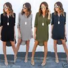 Fashion Women Blouse Chiffon Long Sleeve T Shirt Casual Short Mini Dress Tops