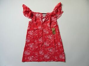 NWT-Knot-Sisters-Sunny-in-Strawberry-Red-Floral-Off-Shoulder-Mini-Dress-M-96