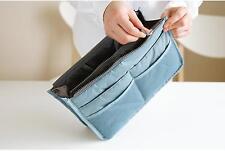 Handbag Insert Organizer Purse Dual Storage Bag in Bag  Multi Pockets Blue WE