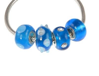 New 4 x Rhona Sutton 925 Sterling Silver ROYAL BLUE /& WHITE MURANO charm beads