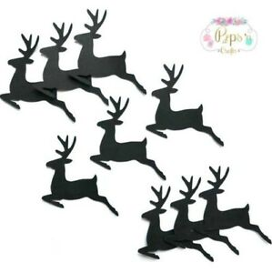 Christmas Reindeer Silhouette.Details About Christmas Reindeer Silhouette Embellishments X 25 Card Making Scrapbooking Craft