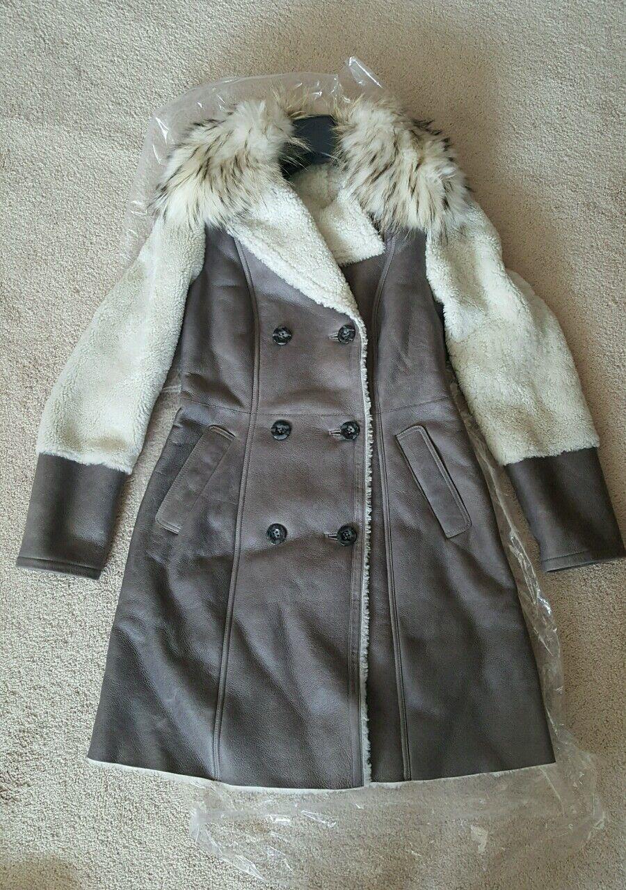 Pasha Veneto Mixed Shearling Coat With Raccoon Fur Collar Size Small