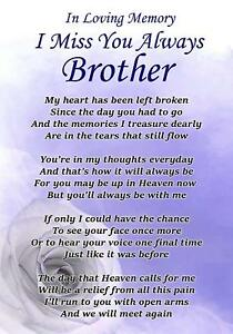 I Miss You Always Brother Memorial Graveside Poem Card Free Ground
