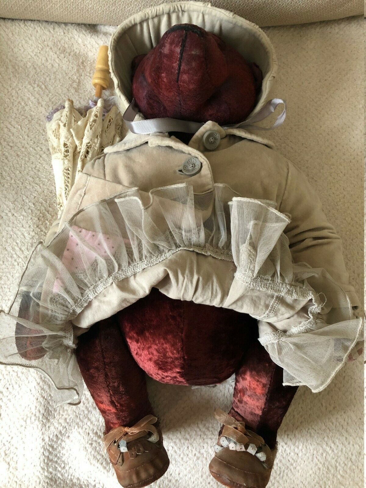 OOAK teddy orso gree gree gree in luxurious clothes with umbrella 2293ab