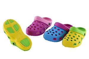 Damen-Duocolor-Clogs-Pantoffel-Schuhe-Gartenschuhe-Sandale-blau-gelb-pink