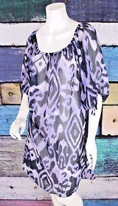 Lane-Bryant-18-Purple-Polyester-Chiffon-Tribal-Boho-Peasant-Dress-Tunic-Plus-1X