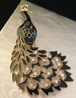 Peacock Pin Brooch Gold Black Enamel With Crystals Accents 6e