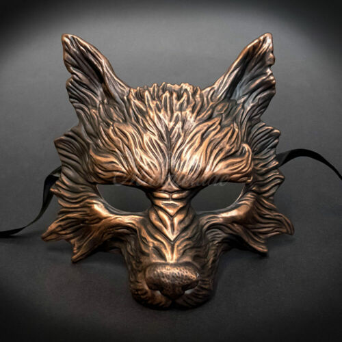 Wolf Animal Spirit Halloween Costume Décoration murale masque de mascarade Cuivre