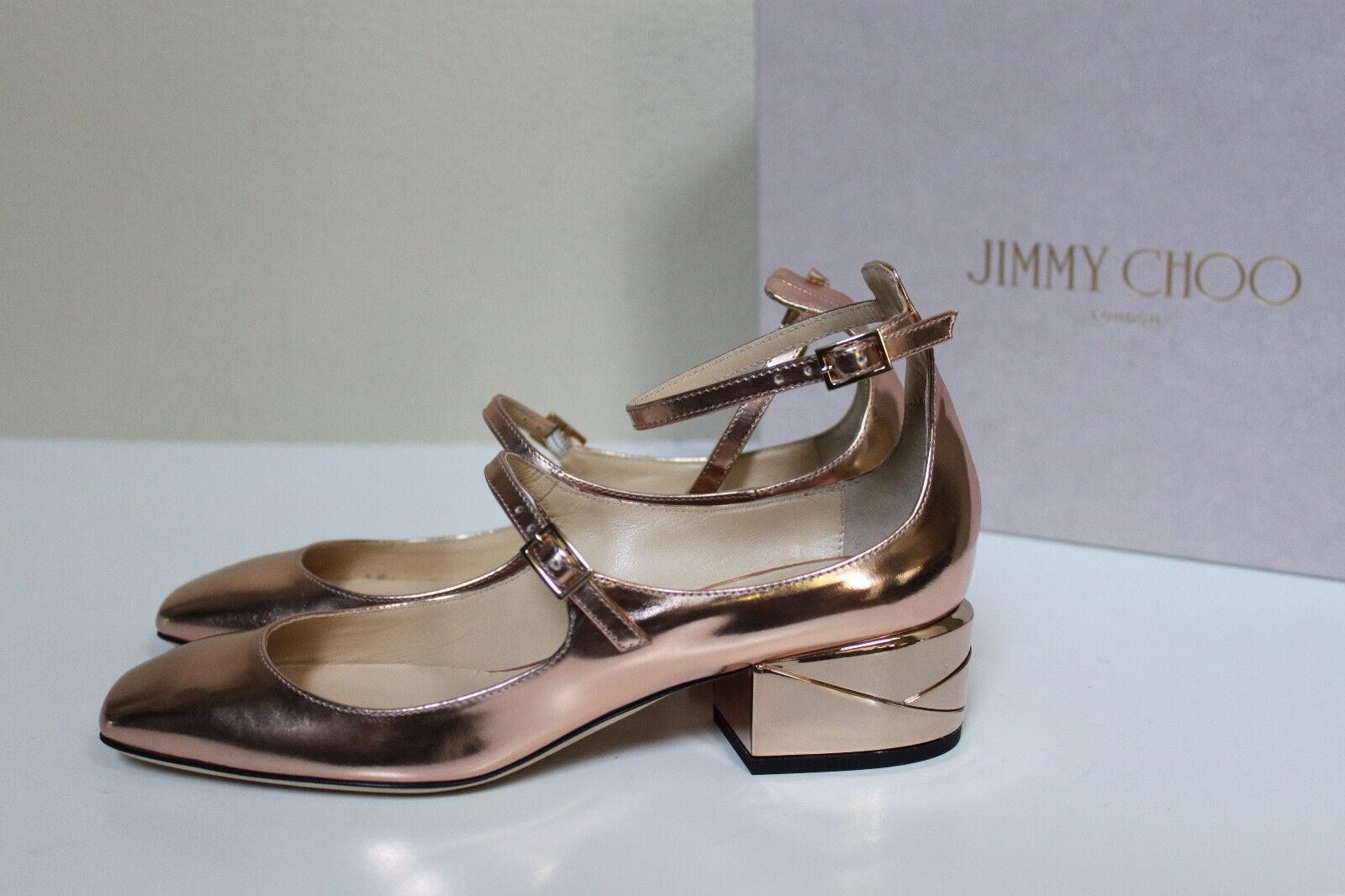 New sz 9   39 Jimmy Choo Wilbur Mirror Rosa Gold Leather Low Heel Pump schuhe