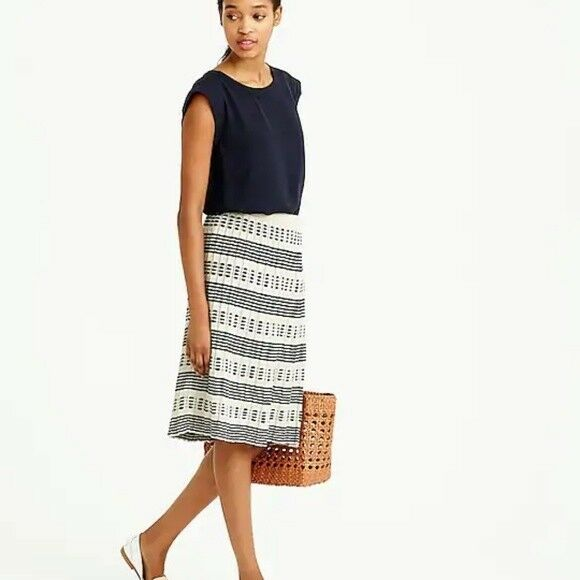 NWT J Crew  128 Pleated Sweater Skirt in Stripe Size XS F1712