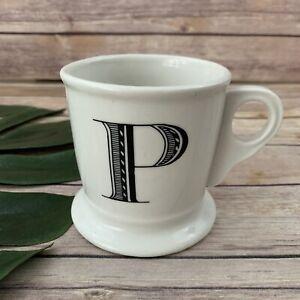Anthropologie-Letter-P-Initial-Coffee-Mug-White-Black-Retro-Shaving-Cup-Monogram