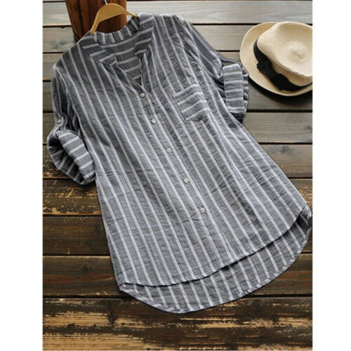 Damen Gestreift Bluse Baggy Langarm Hemd Lose Tunika Tops Minikleid Long Shirt