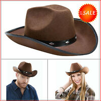 Brown Cowboy Hat Fedora Felt Justin Indiana Jone Cowgirl Stylish Western Costume