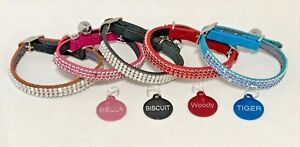 CAT-KITTEN-Leather-COLLAR-Bling-Diamante-with-or-without-ENGRAVED-ID-TAG