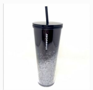 Starbucks Holiday 2019 Venti Tumbler BLACK//SILVER Glitter Cascading Snow 24oz