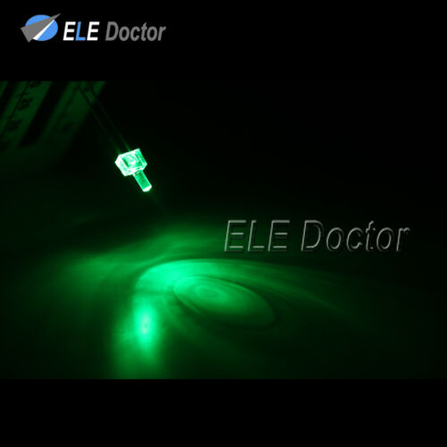 1000pcs 2mm Water Clear Green Light Flat Top Transparent LED Diodes 16000Mcd