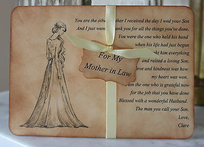 MOTHER IN LAW-Thank You Card-Keepsake-Personalised-Vintage-Wedding Day