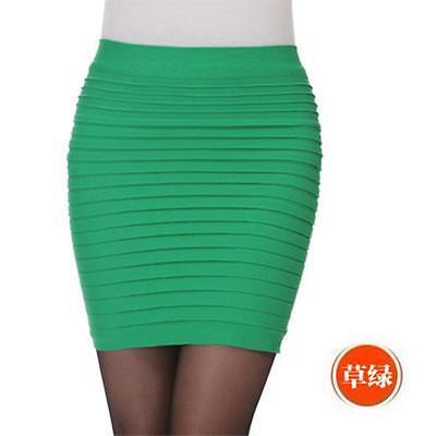 Women's Pleated Seamless Stretch Tight Sexy Bodycon Pencil Mini Skirt Min uf