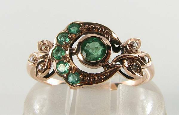 LUSH 9K 9CT pink gold EMERALD DIAMOND ASTRAL SUN MOON ART DECO INS RING