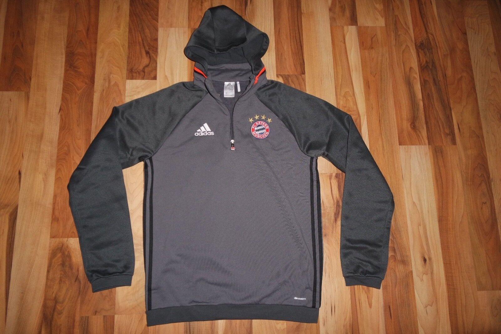 NWT Adidas Bayern München Munich Fleece Top Full Zip Hoodie GRANITE AO0334 M