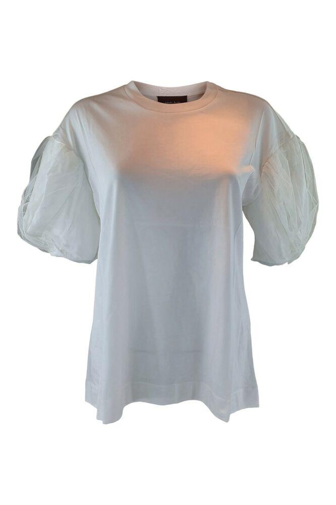 Simone Rocha Blanc En Coton Jersey T-shirt Avec Tulle Layer Manches Bouffantes (m)