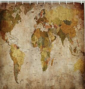 Vintage world map fabric shower curtain antique continents globe image is loading vintage world map fabric shower curtain antique continents gumiabroncs Images