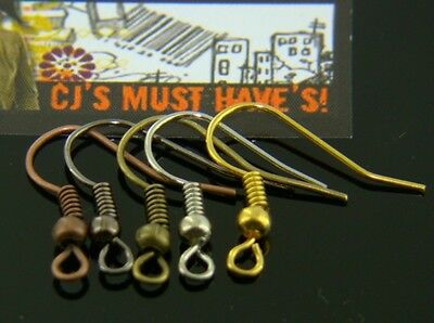 100 MULTI COLOURS, ANTIQUE BRASS GUN METAL RED COPPER SILVER GOLD EARRING WIRES
