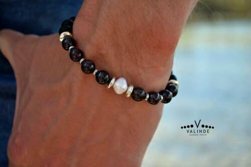 PERLEN-ARMBAND mit Granat Onyx Hämatit Herren Edelstein Armreif Bracelet