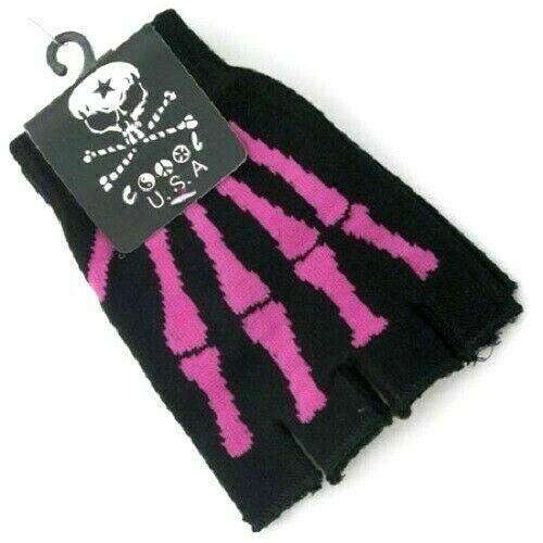 Rose squelette os Mitaines en tricot noir pour envoyer des textos Chauffe-main Adulte