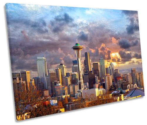 Seattle Skyline Sunset City Photo SINGLE TOILE murale ART Imprimé