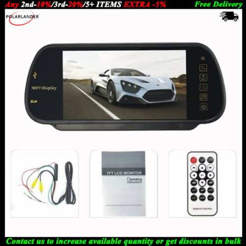 """7/"""" Color TFT LCD Car Rear View Mirror Monitor FM Radio      for Reverse Camera"""