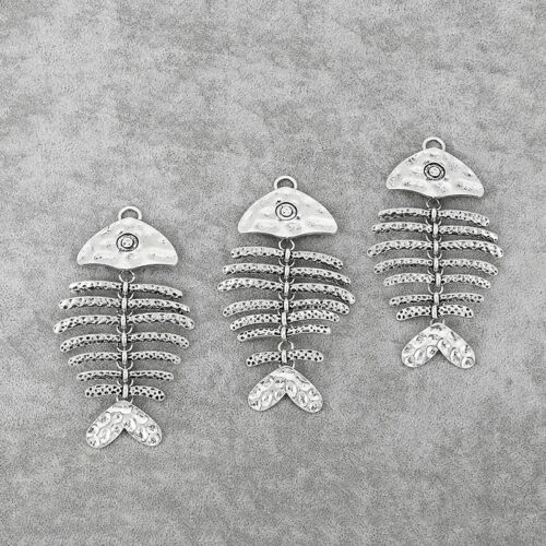 3x Large Antique Silver Hammered Fish Skeleton Jewelry Necklace Pendant 100*56mm