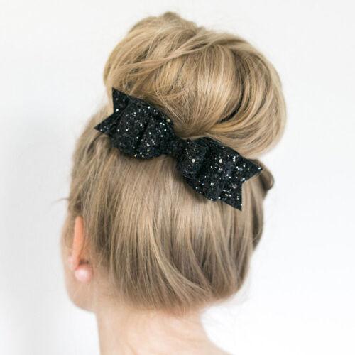 Big Sequins Haarschleife Satin Ansteckschleife Haarspange Haarclip Haarklammer