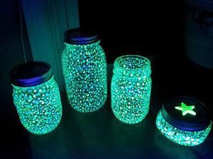 Graniglia sabbia in vetro che si illumina al buio per colorare barattoli 3 color