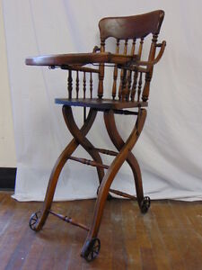Image Is Loading Vintage Heywood Wakefield Antique Oak Wood Childs Baby