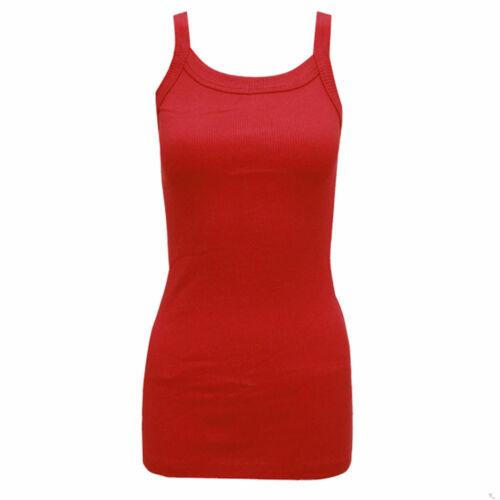 Womens Ladies Girls Stretchy Ribbed Vest Top Summer Rib Strap Vest UK 8-10