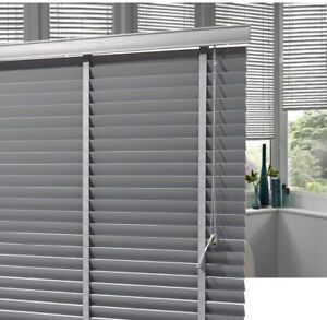 Luxury Grey Wooden Venetian Window Blinds 50mm Slats Kitchen Room with Fittings