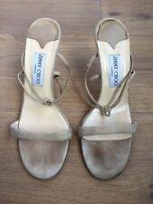 Jimmy Choo Beige Suede Leather Strappy Shoes Heels EU 39.5 UK 6.5 US 9.5