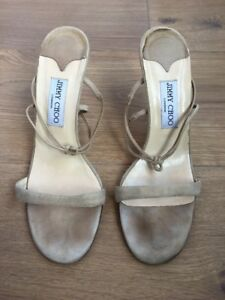 5 5 Strappy Jimmy 6 Heels Beige 9 Choo Us Nude 39 5 Leather Uk Eu Suede Shoes BvOBn