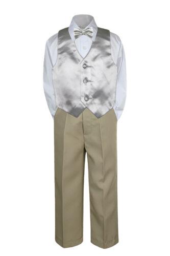 4pc Boy Suit Set Silver Bow Tie Vest Baby Toddler Kid Pants S-7