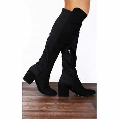 BLOCKED HEELED BOOTS SHOES SIZE