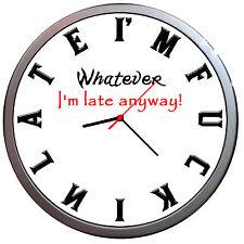 Novelty Personalised Funny Clock I'M LATE ANYWAY  WALL CLOCK ANY NAME
