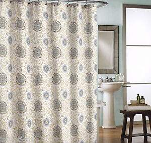 Image Is Loading Cynthia Rowley Cotton Shower Curtain Medallion Khaki Blue